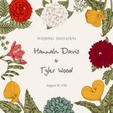 Bukiet kwiaty karty poboru ślub ilustracyjny Obraz Royalty Free