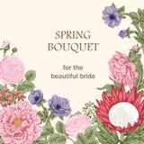 Bukiet kwiaty karty poboru ślub ilustracyjny Obraz Stock