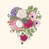 Bukiet kwiaty szczegółowy rysunek kwiecisty pochodzenie wektora Zdjęcia Royalty Free