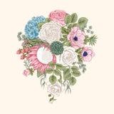 Bukiet kwiaty szczegółowy rysunek kwiecisty pochodzenie wektora Obrazy Royalty Free