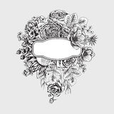 Bukiet kwiaty szczegółowy rysunek kwiecisty pochodzenie wektora Zdjęcie Royalty Free