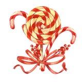 Bukiet lizaki z Bożenarodzeniowym kijem, jagody z łękiem pojedynczy białe tło acrylic barwi rysunkowego papier royalty ilustracja