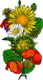 Bukiet maczki, słoneczniki, chamomiles i zieleń liście, Zdjęcia Stock