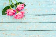 Bukiet menchii róża kwitnie dla romantycznego kartka z pozdrowieniami Obrazy Stock