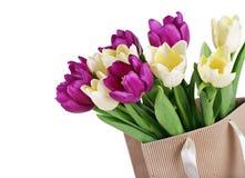 Bukiet od żółtych i purpurowych tulipanów Obraz Stock