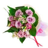 Bukiet od róż, leluj i orchidei odizolowywających na białym backgro, Obrazy Royalty Free