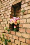 Bukiet peonie na tle kamienna ściana czerwony br Zdjęcie Royalty Free