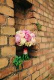 Bukiet peonie na tle kamienna ściana czerwony br Obraz Royalty Free
