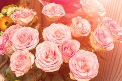 Bukiet piękne delikatne różowe róże w świetle słonecznym obraz stock