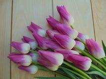 Bukiet piękni różowi i biali tulipany na lekkich drewnianych deskach zdjęcie royalty free