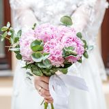 Bukiet purpurowe hortensje Pojęcie jest wakacje, weddin Fotografia Royalty Free