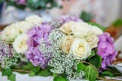 Bukiet purpurowe hortensje Pojęcie jest wakacje, weddin Obraz Royalty Free
