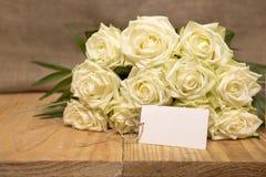 bukiet róż białe karty poboru ślub ilustracyjny Fotografia Royalty Free