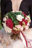 Bukiet róże, kiść odruch, celozja, eustoma, robellini, palma zdjęcie stock