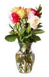 Bukiet róże kwitnie w wazie odizolowywającej na białym tle Obraz Royalty Free