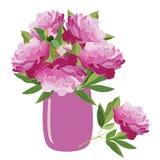 Bukiet różowe peonie w wazie, wektorowy mieszkanie odizolowywał ilustrację royalty ilustracja