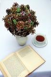 Bukiet sosna konusuje z koralikami w wazie Zdjęcie Stock