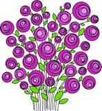 Bukiet stylizowani różowi kwiaty, wektor royalty ilustracja