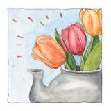 Bukiet trzy tulipanowego kwiatu w teapot, herbaciany czas ilustracji