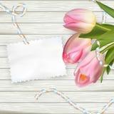 Bukiet tulipany na nieociosanej drewnianej desce 10 eps Zdjęcia Royalty Free