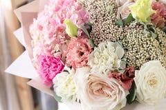 Bukiet w Foamiran papierze Prosty bukiet kwiaty i zielenie Zdjęcia Royalty Free