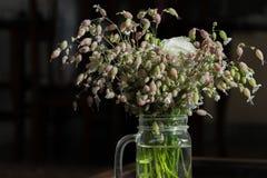 Bukiet wildflowers w szklanym kubku minimalista Prostota, dekoracja obrazy royalty free
