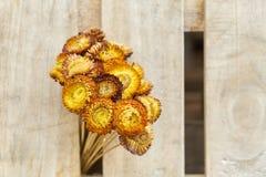 Bukiet wysuszeni dzicy kwiaty na drewnianym tekstury tle rocznik drewniane deski odgórny widok, Selekcyjna ostrość zdjęcia royalty free