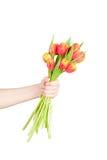 bukieta świezi ręki tulipany fotografia stock