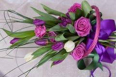 bukieta colour obrazu róż tulipanów woda Fotografia Stock