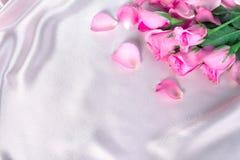 bukieta cukierki menchii róż płatek na miękkich części menchii jedwabniczej tkaninie, romanca Zdjęcie Stock