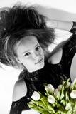 bukieta dziewczyny tulipany Obrazy Royalty Free