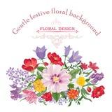 bukieta jaskrawy kwiatu obrazka wektor rama kwiecista wrobić serii Zawijasa kartka z pozdrowieniami Kwitnący posy Zdjęcia Royalty Free