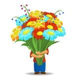 bukieta kwiatów chwyta mężczyzna Fotografia Stock