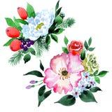 Bukieta kwiat w akwarela stylu odizolowywającym Zdjęcia Royalty Free