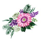 Bukieta kwiat w akwarela stylu odizolowywającym Zdjęcie Stock