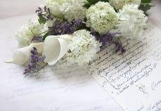bukieta kwiatu hortensi stary pismo Obrazy Royalty Free