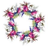 Bukieta kwiatu wianek w akwarela stylu Fotografia Stock