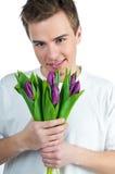 bukieta mężczyzna tulipany Obrazy Stock