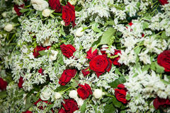 bukieta ręki panny młodej fornala ręki Panny młodej ` s Piękny biali kwiaty i greenery, dekorujący z jedwabniczym faborkiem, kłam fotografia royalty free