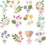 Bukiety kwiaty z łękami Obrazy Royalty Free