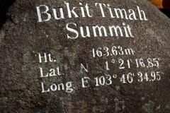 Bukit Timah toppmöte, Singapore royaltyfria bilder
