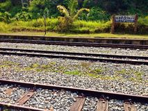 Bukit Timah train station. Relics of disused railway tracks at the now defunct Bukit Timah train station in Singapore Royalty Free Stock Photos