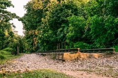 Bukit Timah Train Tracks End. This is part of the old KTM train tracks that once run through til Tanjong Pagar. Once a busy track, now left only the history and Royalty Free Stock Images