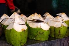 Buko juice& x28;coconut& x29; on table Royalty Free Stock Photo