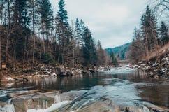 bukovel山的河  免版税图库摄影