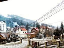 Bukovel. Polyanytsa and Bukovel buildings, winter 2018 stock image