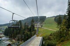 Bukovel. Bukovel ski resort. Autumn day in the Carpathian Mountains. Ukraine royalty free stock image