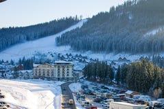 Bukovel ski resort in Carpathian mountains Royalty Free Stock Photography