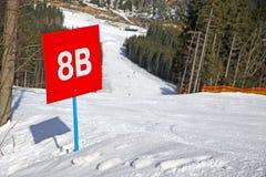 Bukovel ski resort, Carpathians, Uk. Marked ski track of Bukovel ski resort, Carpathian mountains, Ukraine royalty free stock images