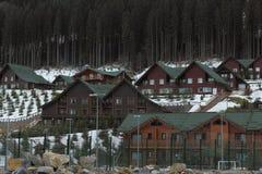 Bukovel ski resort. Photo of a hotel complex in the ski resort Bukovel. Carpathians. Ukraine stock image